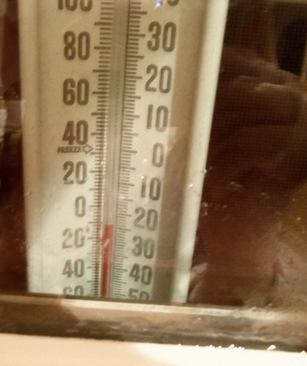Thermometer reads below zero.