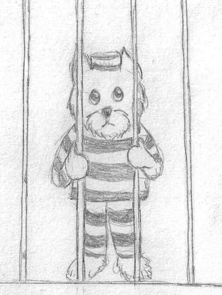 Doggie in prison.