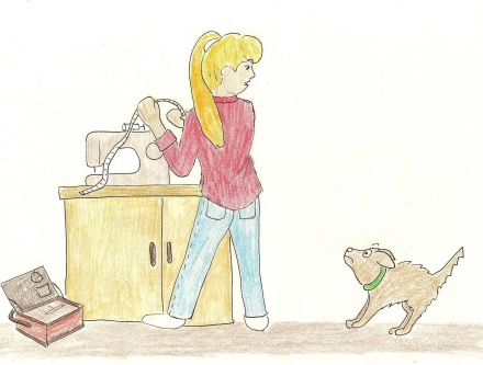 Dog is frightened as his Mom takes out her sewing supplies.