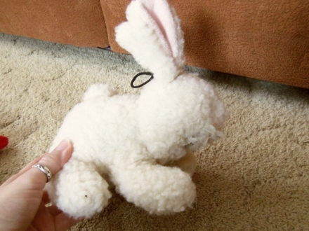 Stuffed bunny toy, side view
