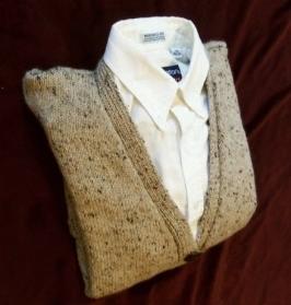 Handknit man's cardigan.
