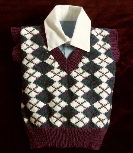 Boy's Purple and Blue Argyle Sweater Vest