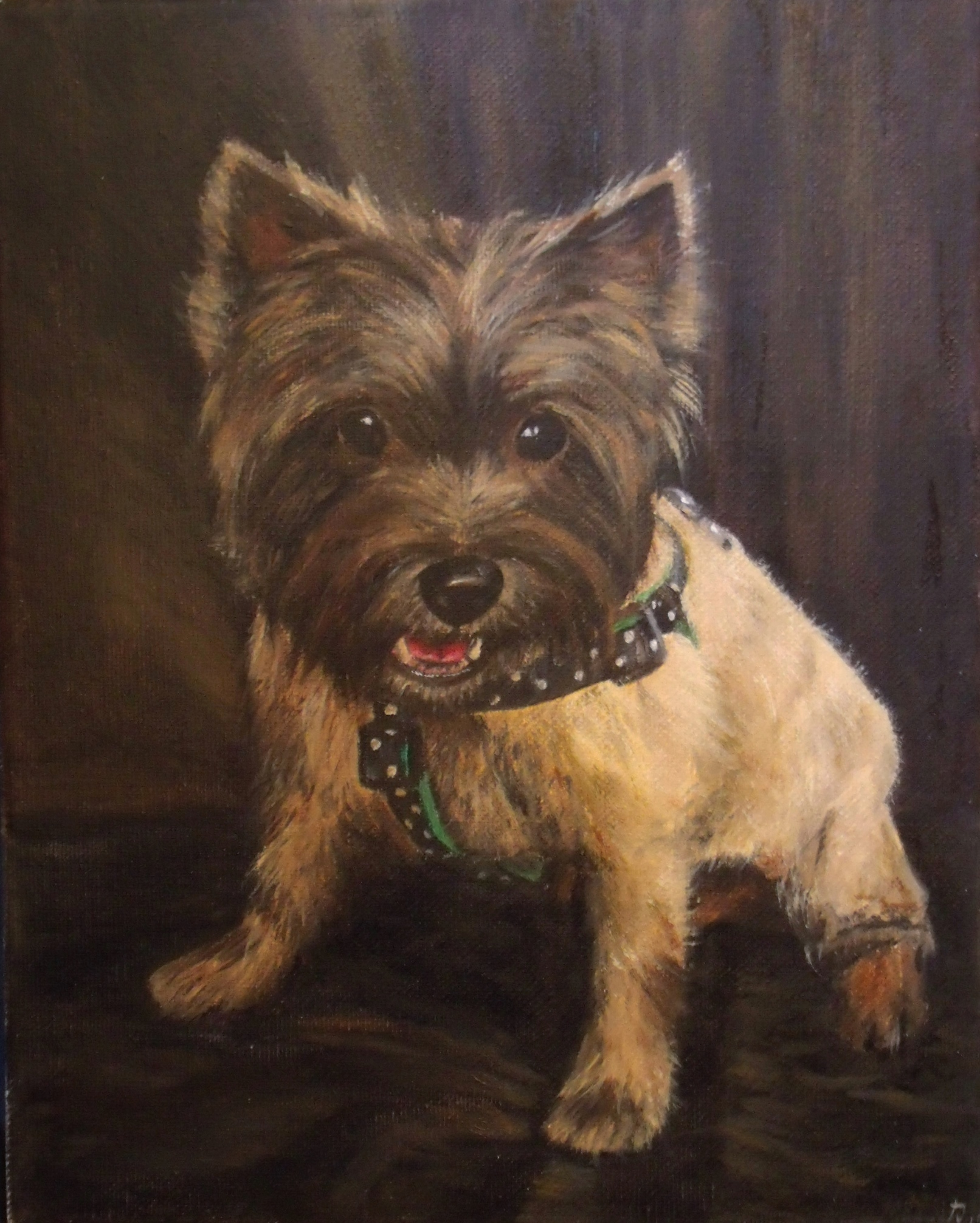 Oil painting of Cairn Terrier girl.