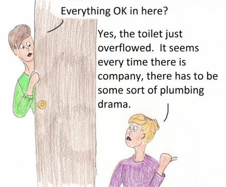 Everything OK in here? Yes, the toilet just overflowed. It seems every time there is company, there has to be some sort of plumbing drama.