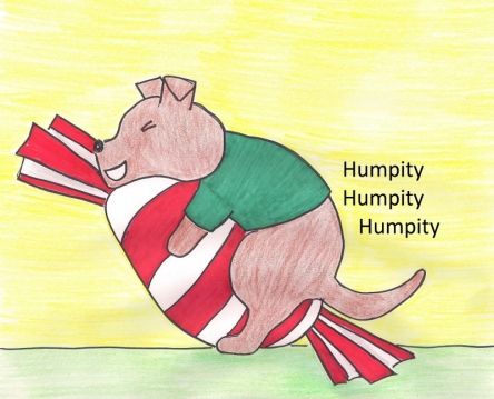 Drawing of Cairn terrier puppy humping his favorite peppermint toy.