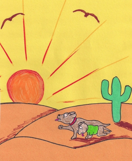 Two terriers struggle to cross a burning desert.