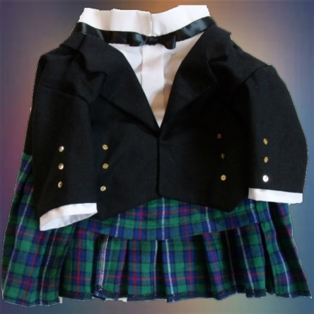 Black Watch Plaid Kilt for Dogs, front view.