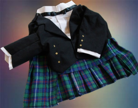Black Watch Plaid Tuxedo Kilt for Dogs, angled view.