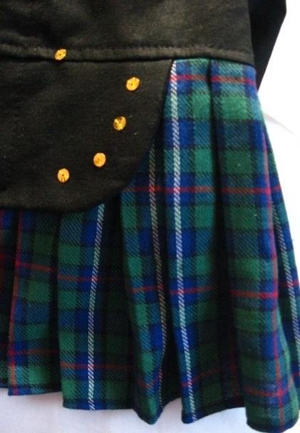 Black Watch Plaid Tuxedo Kilt for Dogs, rear view.