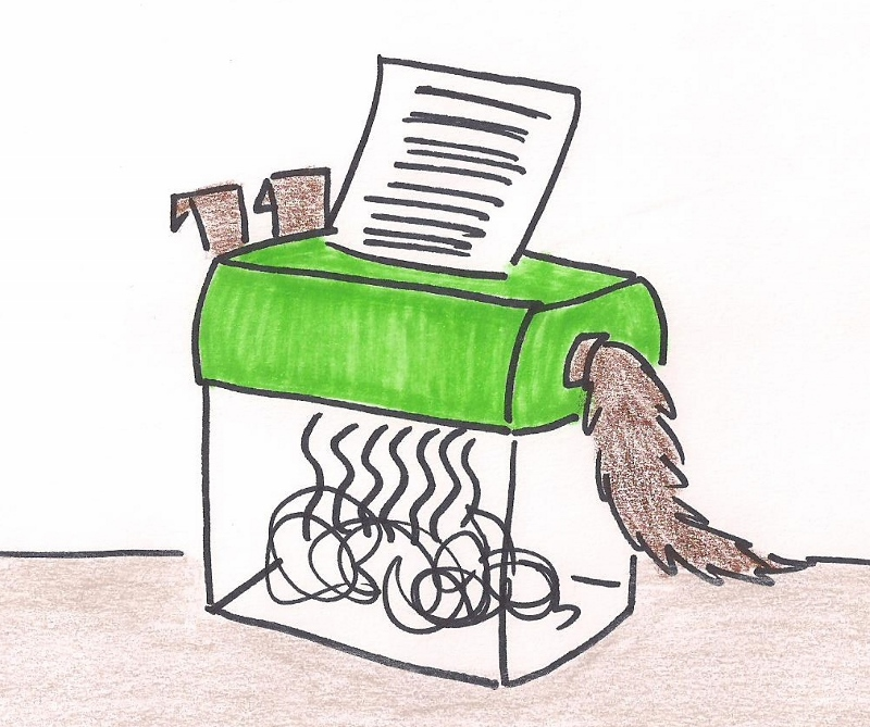 Suspicious shredder with ears and a tail handle.