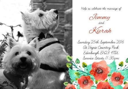 Westie wedding invitation from Edinboro Scotland.