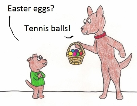 Easter eggs? Tennis balls!