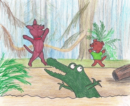 Two dogs and an alligator dance for joy in the swamp.