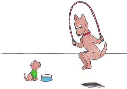 One dog jumps rope while a puppy sits next to his bowl and sings along.