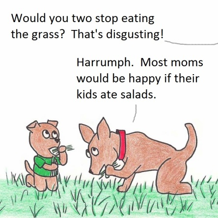 Would you two stop eating the grass? That's disgusting! Harrumph. Most moms would be happy if their kids ate salads.