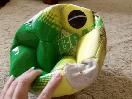 Toby's uninflated soccer ball.