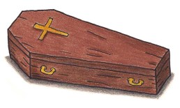 wooden coffin with cross on it