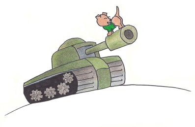 Toby stands atop a tank, tail pointed toward the enemy.