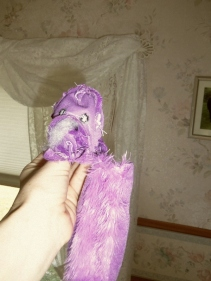 Pfft the Magic Dragon an inside out dragon dog toy that Toby destroyed.