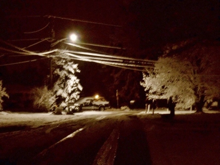 Snowy night scene.