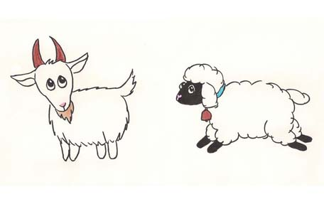 cartoon sketch of a goat and a sheep.