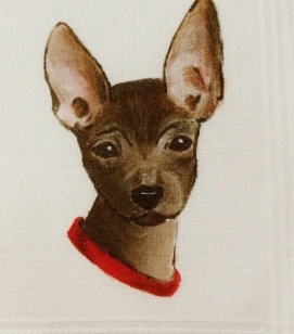 Hand painted Chihuahua dog handkerchief