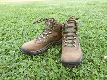 Pair of boots sitting on grass.