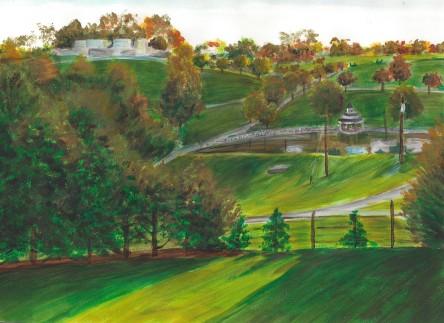 Hillside landscape in Autumn colors