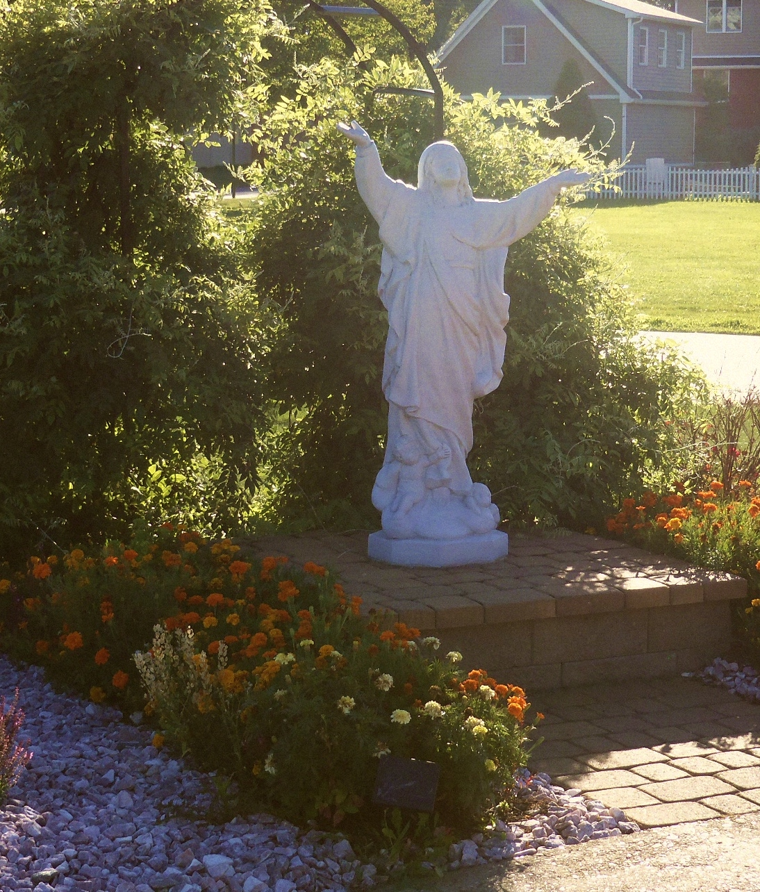 Statue of Mary outside of a church.