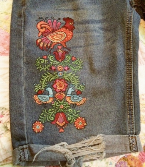 Teen overalls with retro rooster design