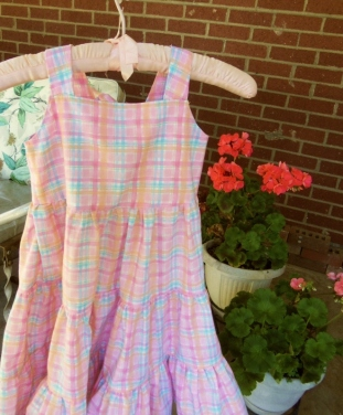 Little girls' pastel plaid sundress