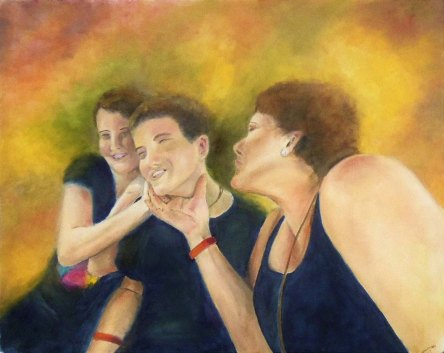 Oil painting of Mom trying to embarrass teen boy by kissing him in front of his girlfriend.