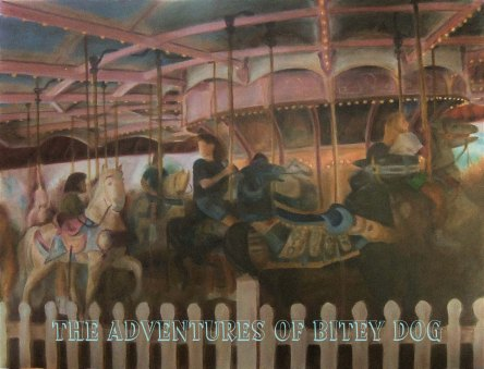 Patrons ride a coorful merry go round at an amusement park.