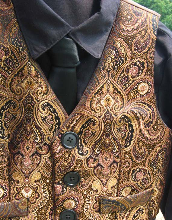Copper Brocade Paisley Vest for Boys