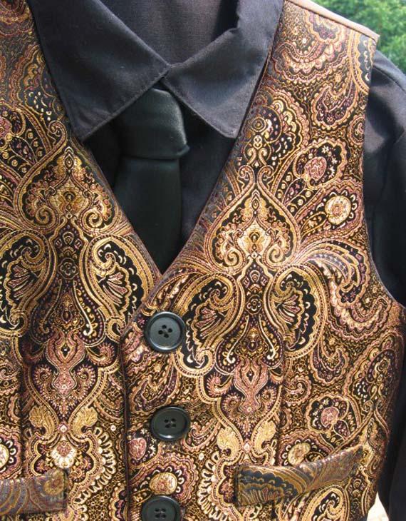 Copper Brocade Paisley Vest for Boys