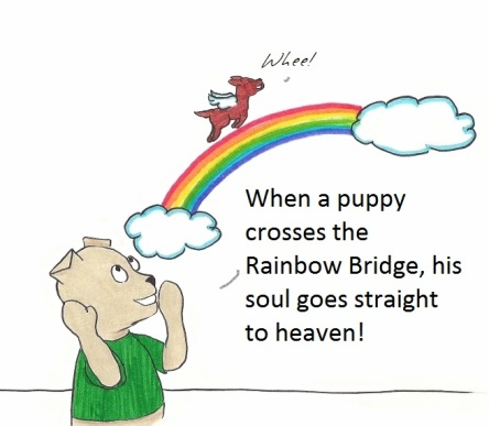 When a puppy crosses the Rainbor Bridge, his soul goes straight to heaven!