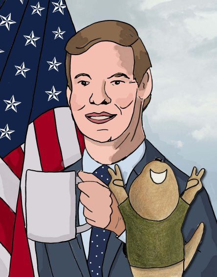 Toby flashes peace signs as he stands in front of Eric Swalwell and the infamous coffee cup.