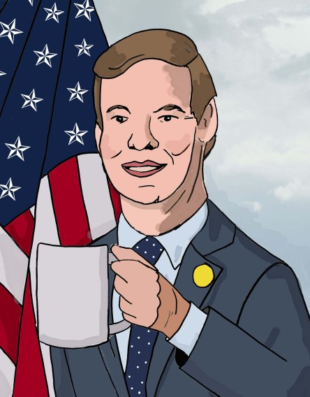 Sketch of Eric Swalwell and the infamous cup.