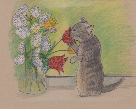 Sketch of kitty sniffing flowers