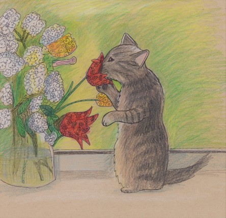 Pencil sketch of a kitty sniffing a flower.