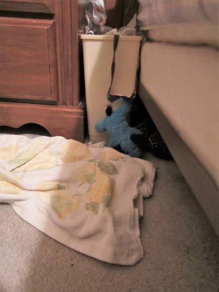 Blue Puppy gets his paw caught as he tries to escape anyone noticing he raided the trash can.