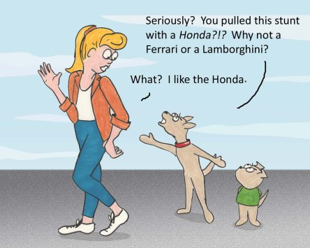 Dog: Seriously? You pulled this stunt with a Honda?!? Why not a Ferrari or a Lamborghini? Woman: What? I like the Honda.