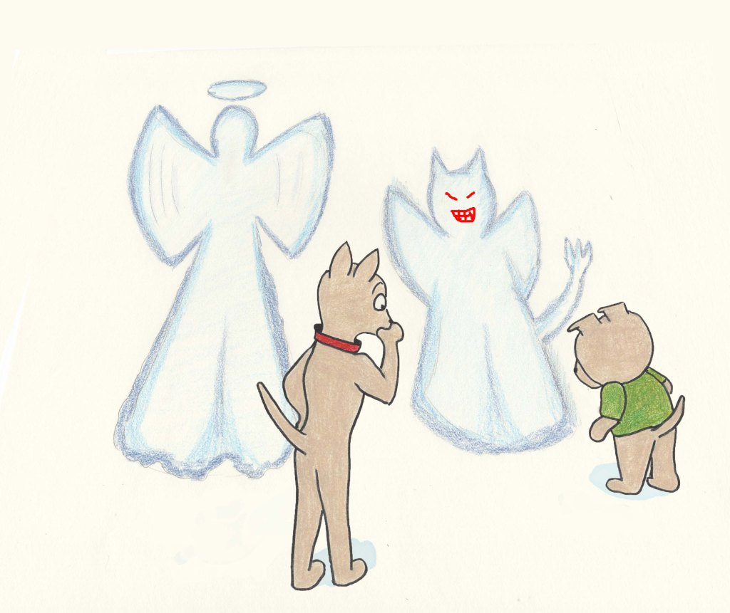 Two puppies look at their snow angels. One is an angel, the other one a devil.