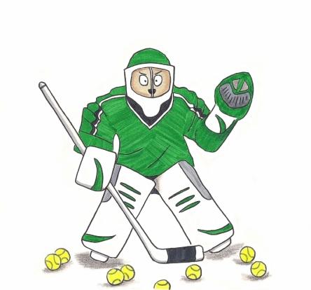 Puppy dressed as ferocious hockey player.
