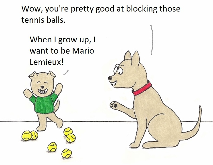 Wow, you're pretty good at blocking thos tennis balls. When I grow up, I want to bMario Lemieux!