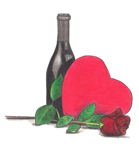 A Valentine's Day heart shaped box of colcolate rests next to a bottle of wine and a single red rose.
