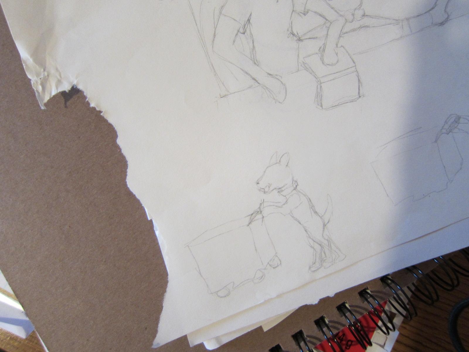 Dog-chewed sketch paper