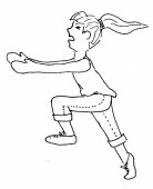 Sketch of woman running