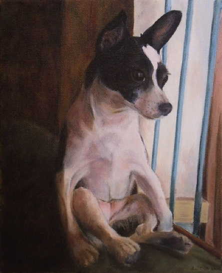 Lady Chihuahua sits on Daddy's chair next to the window. Oil on canvas.