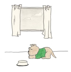 Drawing of puppy sleeping near a window with cloudy skies outside. Inside, his bowl is empty.